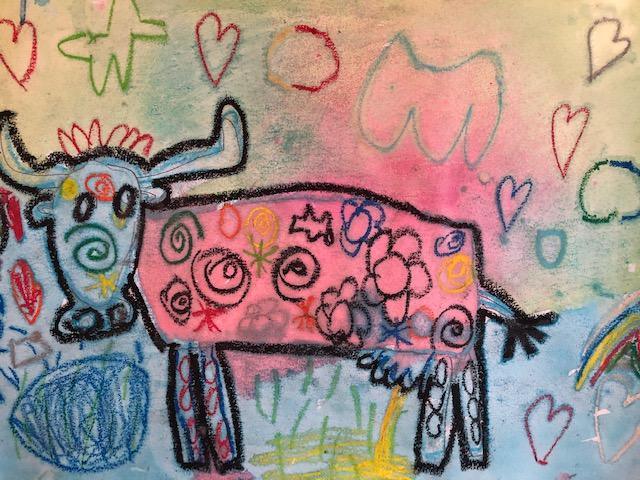 dessin d'élève en cours d'art plastique à l'école privée bilingue de baillargues