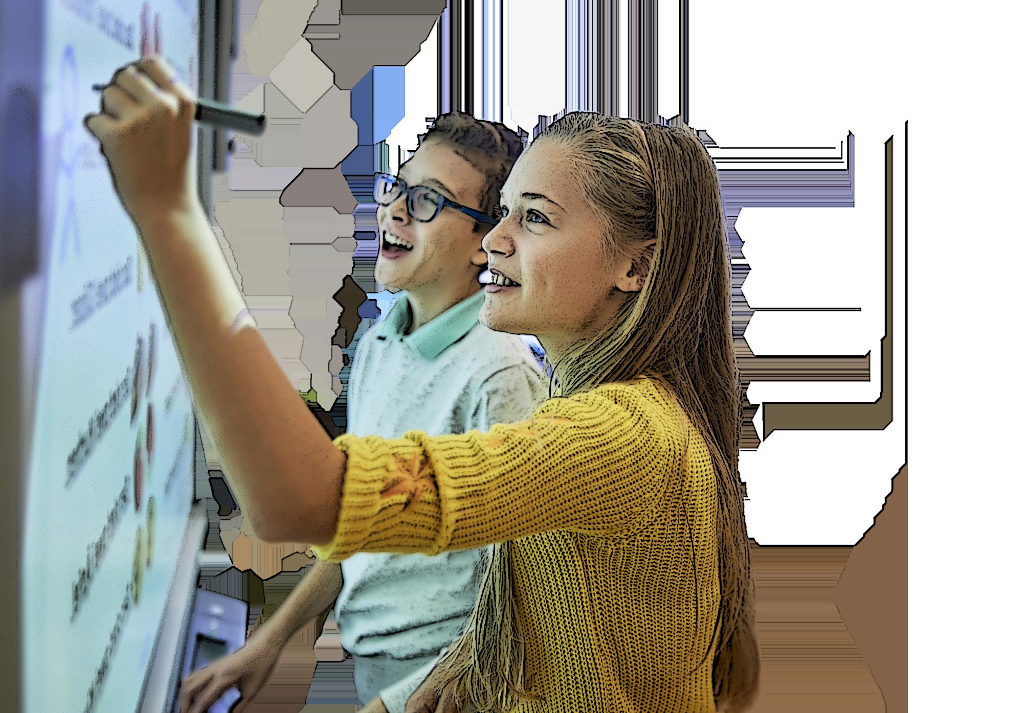 élèves du collège international au tableau interactif à l'école internationale